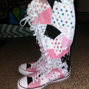 Knee High Patchwork Converse Sneakers